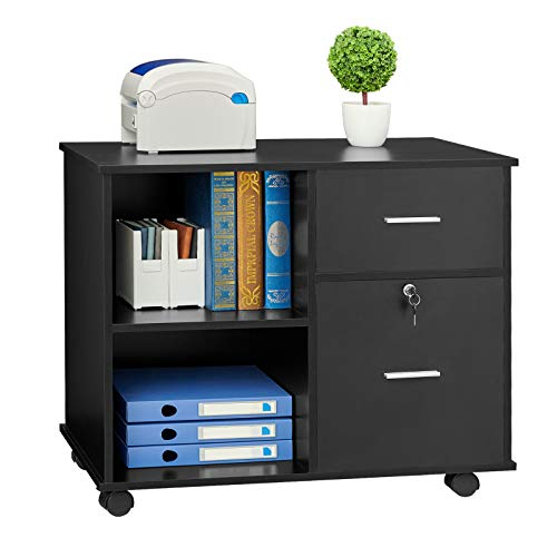 GreenForest 2 Drawers File Cabinet Wooden Lateral File Cabinet with Open Storage Shelves Printer Stand Rolling File Cabinets with Lock for Letter Size or A4 Hanging File Folders, Black
