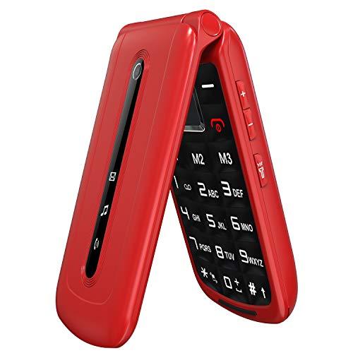 Klapphandy ohne Vertrag mit großen Tasten, Ukuu Seniorenhandy mit Notruf-Knopf & Taschenlampe 2,4-Zoll-Bildschirm Dual SIM 900 mAh Akku Lange Standby-Zeit Mobiltelefon - Rot
