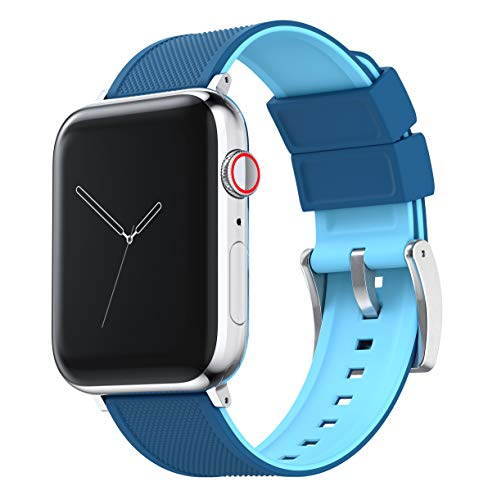 Two Tone Blue (Flatwater) 38mm/40mm - Barton Elite Silicone Watch Bands - Choose Color - Compatible with All Apple Watches - 38mm, 40mm, 42mm, 44mm