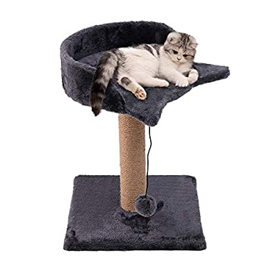 Famgizmo Cat Tree with Sisal Scratching Post, 41cm Stable Cat Tower with Dangling Toys, Kitten Activity Centre for Playing Relax and Sleep, Cat Furniture, Climbing Tower, Cat Pattern, Dark Blue