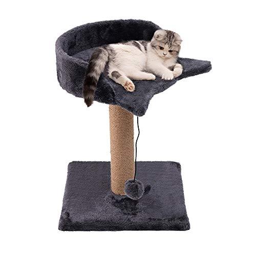 Famgizmo Árbol para Gatos con Rascador de Sisal, 41cm Torre para Gatos con Bolas de Juego, Centro de Actividad para Gatitos, Muebles para Gatos, Torre de Escalada, Patrón de Gato, Azul Oscuro