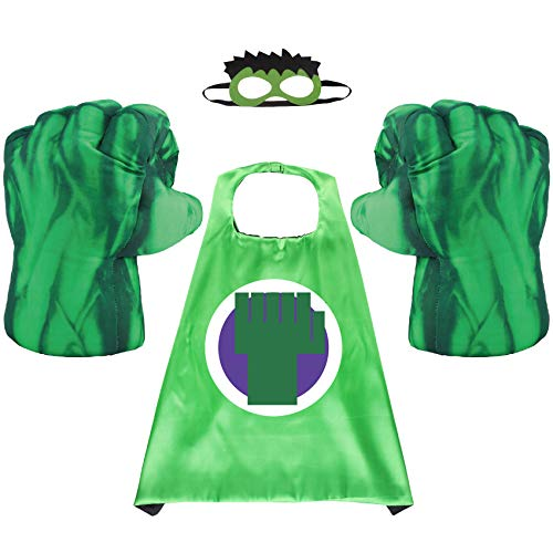 Toydaze Superhero Kids Cape & Plush Hands Fists Gloves Halloween Costume Set, Super Hero Inspired Looking Toddler Pretend Play Dress-up, Superhero-Themed Birthday Party Supplies
