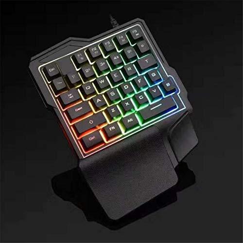 XiaoMall Teclado de juegos con una sola mano medio teclado para juegos pequeños teclados con retroiluminación