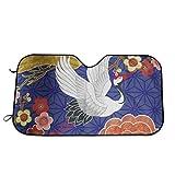 JONINOT Parabrisas Parasol Plegable Negro Chino con pájaros voladores Heron patrón japonés con Motivos orientales Animal Azul asiático