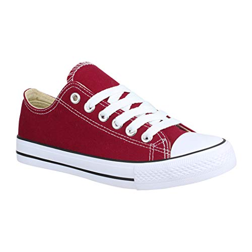 Elara Zapatos de Deporte Unisex Low Top Textil Chunkyrayan Burdeos BK-63-Bordo-38