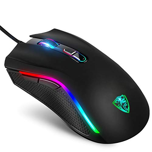 GTRACING Gaming Mouse 7200 DPI 7 Programmable Rgb Wired Ergonomic Game Usb Computer Mice Rgb Gamer Desktop Laptop Pc Gaming Mouse, Breathing Light 7 Buttons for Windows 7/8/10/XP Vista , Black
