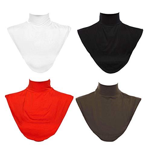 P Prettyia 4 Stück Faux Blusenkragen Einsatz Rollkragen, Fashion Verzierter Kragen für Islamische muslimische Frauen Neck Cover