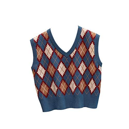 WangsCanis las Mujeres sin Mangas de Tela Escocesa de Argyle suéter de Punto Chaleco Flojo streetwearv Cuello géneros de Punto del Tanque de Muy Buen Gusto suéter Superior(Azul,un tamaño)