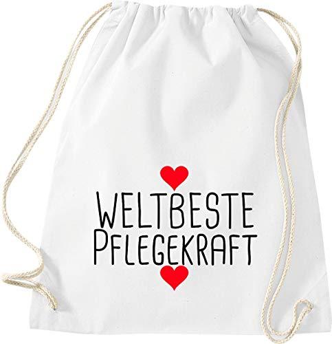 Shirtstown Sac de gym avec inscription en allemand « WeltBeste Pflegekraft », W11004564weiss, Blanc, 37 cm x 46 cm