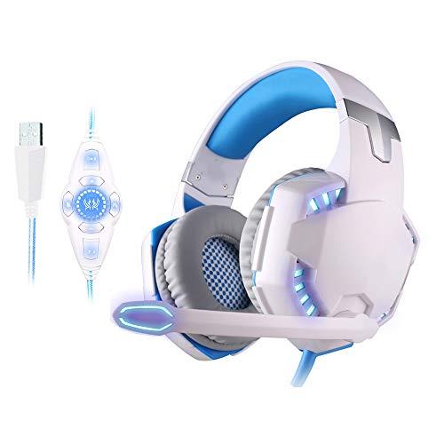 WQYRLJ USB 7.1 Jeu Son Surround Vibration Gaming Casque Ordinateur Tête Monté sur Casque Écouteur avec Microphone LED,Blanc