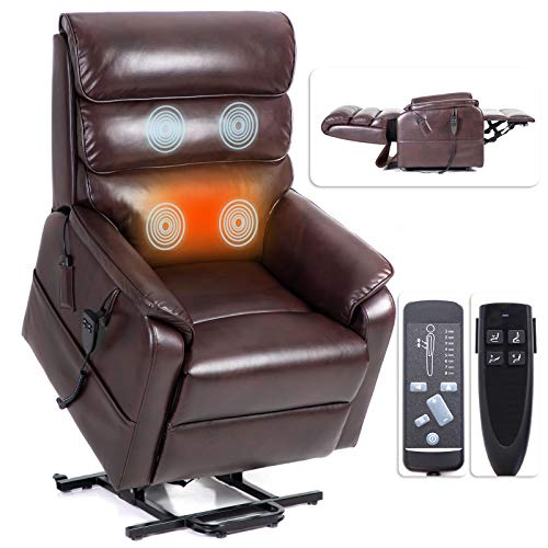 Irene House 9188 Dual OKIN Motor Lift Chair Recliners for Elderly Infinite Position Lay Flat Recliner with Heat Massage Up to 300 LBS Electric Power Lift Recliner Chair Sofa (Red-Brown Leather)