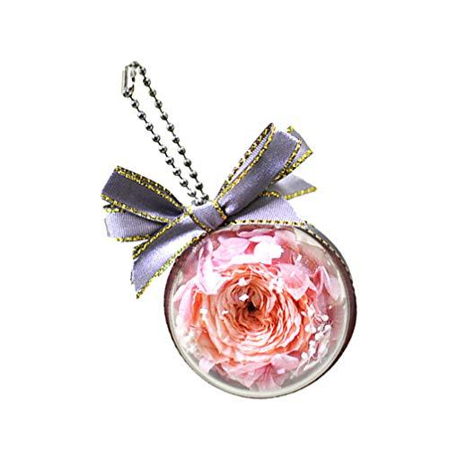 GARNECK Romántico Llavero de Flores Preservadas Bola de Acrílico Eterna Rosa Llavero Bolso Colgante Encanto Día de San Valentín Boda Amor Regalo (Color Al Azar)