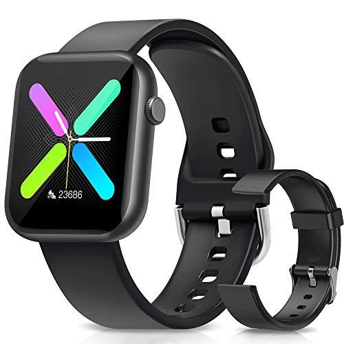 WWDOLL Smartwatch, 1.3 Pulgadas Reloj Inteligente Mujer Hombre, Reloj Deportivo con Pulsómetro, Cronómetro, Presión Arterial, Juego, Calculadora, Monitor de Sueño, IP67 Smart Watch para Android iOS
