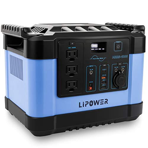 LIPOWER 1000W Portable Power Station MARS-1000, 1100Wh/300,000mAh Huge Capacity Solar Power Generator, with 3 110V AC Outlets (Surge 2000W), Pure Sine Wave Emergency Power for Home (Blue)