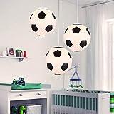 Fútbol de techo Creative plafón iluminación LED moderno, fútbol nouveauté techo lámpara colgante techo pantalla, lámpara de sombra de cristal plafón lustre con soporte E27lámpara de pie