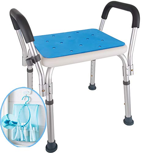 Medokare Shower Stool with Padded Seat - Shower Seat for Seniors with Tote Bag and Handles, Shower Bench Bath Chair for Elderly, Handicap Tub Shower Seats for Adults (White Stool with Rail)