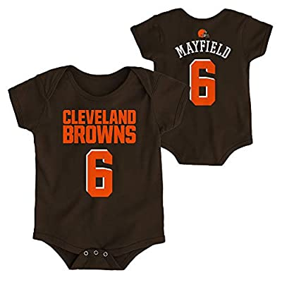 OuterStuff NFL Newborn Infants Team Color Name and Number Bodysuit Creeper (18 Months, Baker Maydfield Cleveland Browns Home Brown)