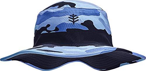 Coolibar UPF 50+ Kid's Reversible Surf Bucket Hat - Sun Protective (Large/X-Large- Navy Nautical Camo)