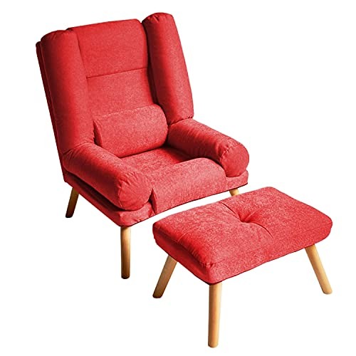 Selly Home Sessel mit Ergonomischer Hocker - Relaxsessel Angenehmes Stoff mit Liegefunktion - Entspannung Ohrensessel mit Hocker - Fernsehsessel mit Fußstütze - Lounge Stressless Sessel – Rot