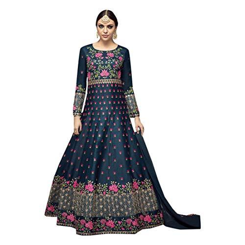 Azul Musulmán Boda Seda Largo Anarkali Salwar Kameez Indian Eid Festival Vestido...