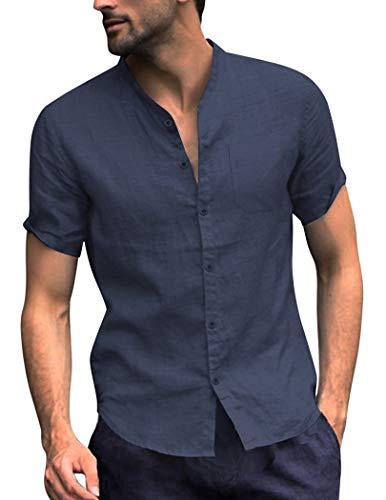 COOFANDY Men's Cotton Linen Shirt Regular Fit Short Sleeve V Neck Button Down Summer Shirt Beach T Shirts Navy Blue