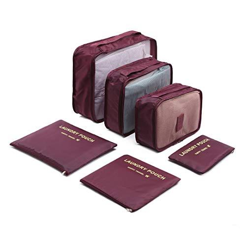 Kono 6PCS Reizen Essentieel Tassen-in-tas Inpakken Blokjes Duurzaam Reisbagage Organisatoren Koffer Opslag Tassen Compressie Zakjes (bourgondië)