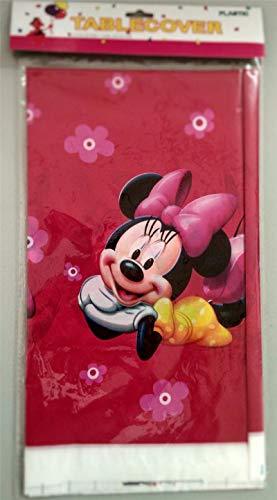 Mantel desechable de PVC de 180 x 108 cm para mesa de fiesta infantil Minnie Mouse Plus de 59 mm con el botón de My Birthday