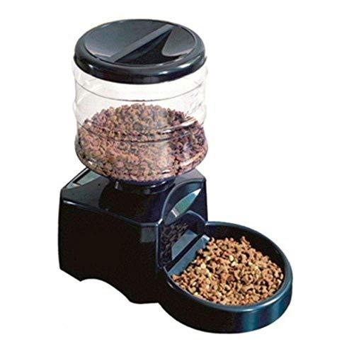 comedero para mascotas comedero automático para mascotas de 5,5 litros con grabación de mensajes de voz y pantalla LCD, dispensador de tazón de comida para perros y gatos inteligente grande, negro