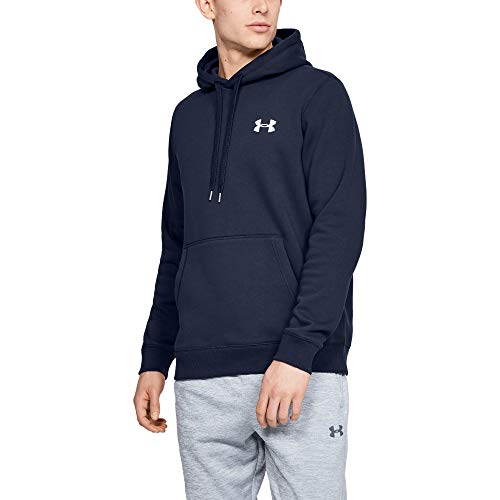 Under Armour Herren Rival Fitted Pull Over sportlicher Kapuzenpullover für Männer, atmungsaktives Sweatshirt mit enganliegender Passform, Navyblau (Midnight Navy/White (410), XX-Large