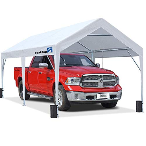 PEAKTOP OUTDOOR 10 x 20 ft Upgraded Heavy Duty Carport Car Canopy Portable Garage Tent Boat Shelter with Reinforced Triangular Beams and 4 Weight Bags,White