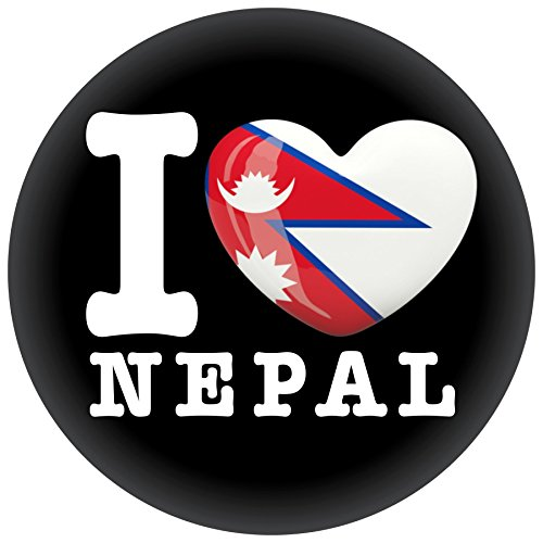 FanShirts4u Button/Badge/Pin - I Love NEPAL Fahne Flagge (I Love Nepal)