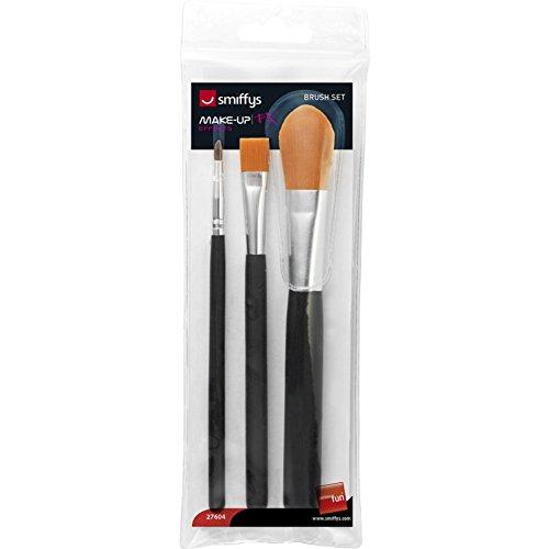 Smiffys Damen Kosmetik Pinsel Set, 3 Verschiedene Größen, One Size, Schwarz, 27604