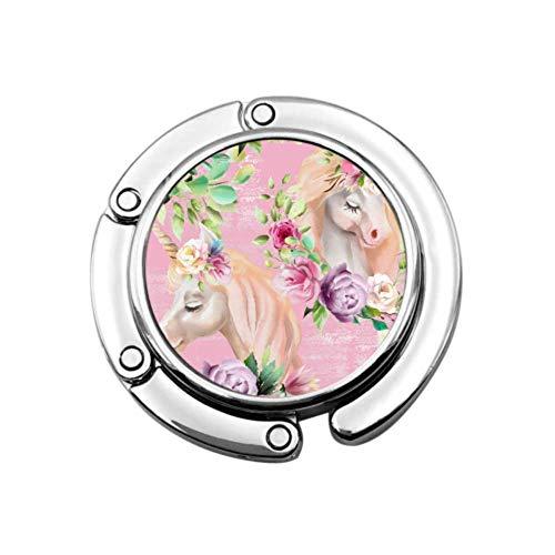 Blumen dekoriert Einhorn Tasche Kleiderbügel Haken Kleiderbügel Tisch Einzigartige Designs Faltbereich Lagerung Geldbörse Organizer Kleiderbügel