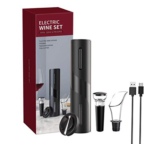 Ouvre-bouteille électrique avec câble de charge USB, coupe-capsule, bouchon de bouteille de vin et bec verseur - pour la maison, le restaurant, les fêtes, comme cadeau pour la famille