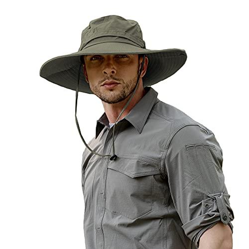 ZLYC Sombrero impermeable para hombre de ala ancha Boonie sombrero de sol al aire libre protección solar Fishmen Cap