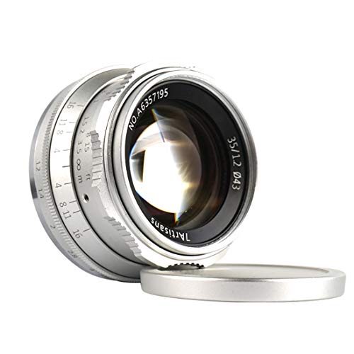 7artisans 35mm F1.2 Manueller Fixfokus Objektiv APS-C für kompakte spiegellose Kameras für Fuji X-A1 X-A10 X-A2 X-A3 A-at X-M1 XM2 X-T1 X-T10 X-T2 X-T20 X-Pro1 X-Pro2 X-E1 X-E2 E-E2s X-E3 -Silber