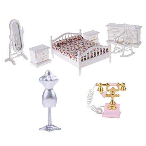HomeDecTime Kit de Dormitorio en Miniatura Vintage, Silla de Espejo de Tocador de Cama de Madera para Decoración de Accesorios de Casa de Muñecas 1/12