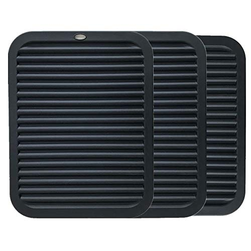 DSTong Silicone Pot Holder 2pack, Trivet Mat, Baking Gadget Kitchen Table Mat Waterproof, Heat Insulation, Non-Slip,Trivet,Tableware Pad Coasters (Black/3pack)