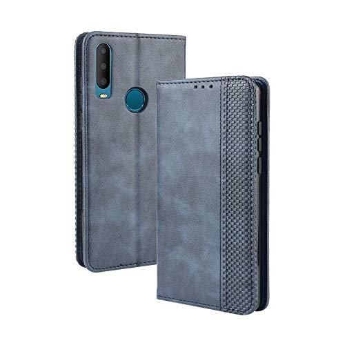 Dedux Flip Hülle kompatibel mit Alcatel 3X (2019), Retro Leder Brieftasche Abdeckung Magnetverschluss Folio Ständer Kartensteckplätze Handyhülle, Blau