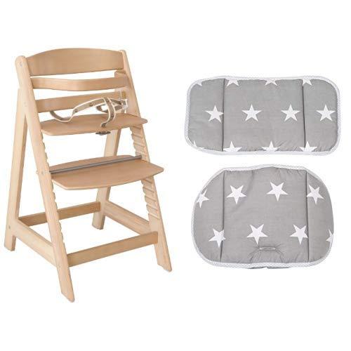 roba Treppenhochstuhl mitwachsend, Sit Up III, Babyhochstuhl, Holz natur, mit Sitzverkleinerer Little Stars