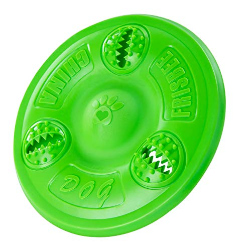PUPSAND Dog Frisbee Interactive Dog Toys,Rubber Flyer,Indestructible Puppy Chew Toys ,Durable Flying Disc Dog Fetch Toy,Safe on Teeth for Small ,Medium and Large Dogs