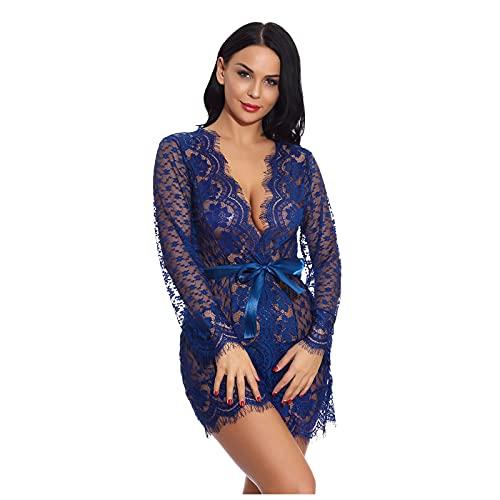 ANJUNIE Women Sexy Lace Romper Lingerie Babydoll Deep V Teddy Sleepwear with Panty Pajama(1-Navy,Small)