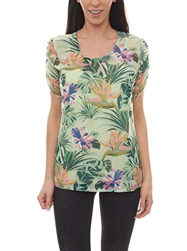 vivance Collection T-Shirt Doppellagiges Damen Sommer-Shirt mit Blumen-Print Freizeit-Shirt Mode-Shirt Grün, Größe:44