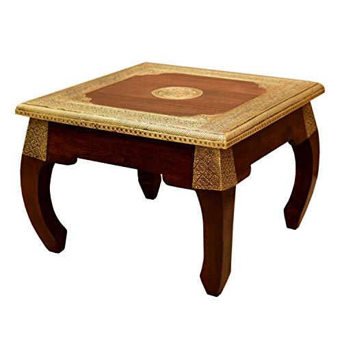 Casa Moro Orientalischer Opiumtisch Messing L 54x54x38 cm (B/T/H) aus Sheesham-Holz mit Messingintarsien | Massivholz Beistelltisch im Kolonial-Stil | Kunsthandwek | einfach schöner Wohnen | MA5300