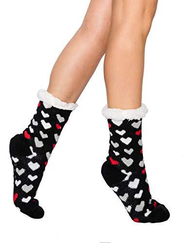 Winter Cozy Fuzzy Socks Slipper - Women Sleep Indoor Knit Thermal Thick Soft Plush Fleece Fur Wool Warm Plus (9-11, Heart Black)