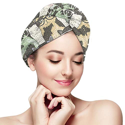 Toallas de turbante para el pelo, lindos gatos hipster de microfibra suave de secado rápido, toallas de secado rápido absorbentes y ligeras para mujeres