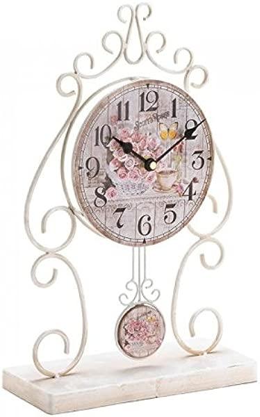 Zings Thingz 57073497 Vintage Rose Tabletop Clock Cream