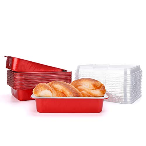 Aluminum Brownie Pans, Beasea 7x5 Inch 25 Pack Disposable Loaf Pan with Lids, Red Aluminum Foil Bread Pans Rectangular Bread Loaf Baking Pans Loaf Bakeware for Baking