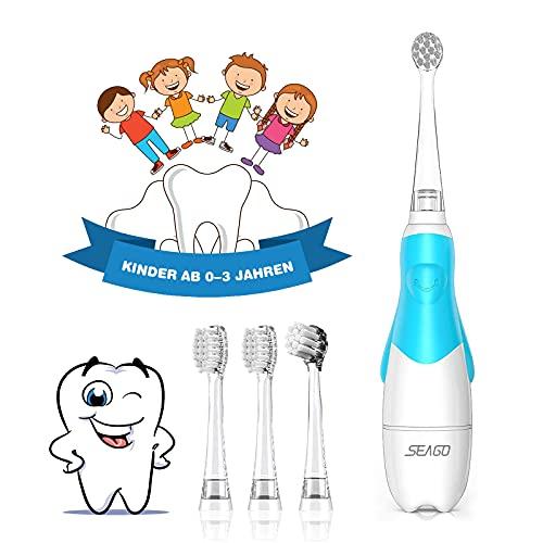 Elektrische Zahnbürste Kinder ab 1 2 3 jahren, Seago Timer Baby Zahnbürste mit LED Lampe Batterie Kinderzahnbürste Elektrisch mit Schalltechnologie - 4 Bürstenköpfen,2Minuten Timer,30s Erinnerung Blau