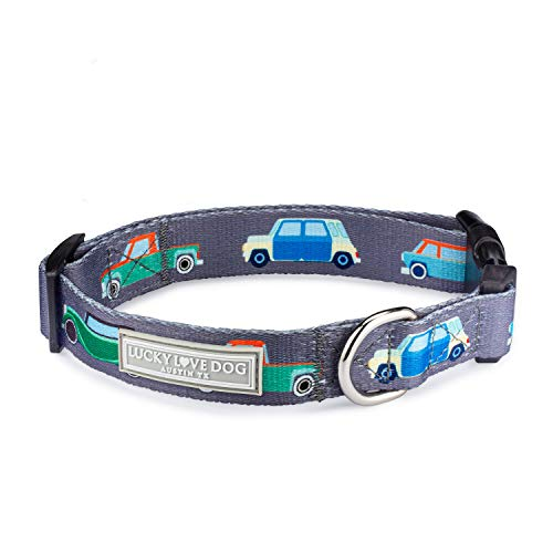Lucky Love Dog Halsbänder | Hundehalsband für kleine Hunde – weich, verstellbar, sicher zum Spazierengehen – Regnerisches Steet-Muster, klein